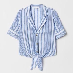 H&M Tie Front White and Blue Striped Linen Top